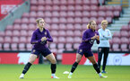 SOUTHAMPTON, ENGLAND - SEPTEMBER 16: Lotte Wubben-Moy(L) and Ebony Salmon(R) during England Women's training session at St Mary's Stadium on September 16, 2021 in Southampton, England. (Photo by Isabelle Field/Southampton FC via Getty Images)