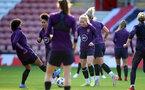 SOUTHAMPTON, ENGLAND - SEPTEMBER 16: Alex Greenwood(R) during England Women's training session at St Mary's Stadium on September 16, 2021 in Southampton, England. (Photo by Isabelle Field/Southampton FC via Getty Images)