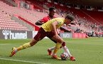 SOUTHAMPTON, ENGLAND - SEPTEMBER 19: Remello Mitchell(R) of Southampton during the Premier League 2 match between Southampton B Team and Burnley at St Mary's Stadium on September 19, 2021 in Southampton, England. (Photo by Isabelle Field/Southampton FC via Getty Images)