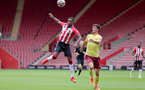SOUTHAMPTON, ENGLAND - SEPTEMBER 19: Remello Mitchell(L) of Southampton during the Premier League 2 match between Southampton B Team and Burnley at St Mary's Stadium on September 19, 2021 in Southampton, England. (Photo by Isabelle Field/Southampton FC via Getty Images)