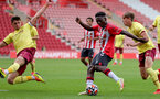 SOUTHAMPTON, ENGLAND - SEPTEMBER 19: Kazeem Olaigbe(R) of Southampton during the Premier League 2 match between Southampton B Team and Burnley at St Mary's Stadium on September 19, 2021 in Southampton, England. (Photo by Isabelle Field/Southampton FC via Getty Images)