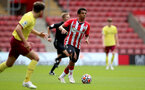 SOUTHAMPTON, ENGLAND - SEPTEMBER 19: Caleb Watts(R) of Southampton during the Premier League 2 match between Southampton B Team and Burnley at St Mary's Stadium on September 19, 2021 in Southampton, England. (Photo by Isabelle Field/Southampton FC via Getty Images)