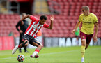 SOUTHAMPTON, ENGLAND - SEPTEMBER 19: Caleb Watts(L) of Southampton during the Premier League 2 match between Southampton B Team and Burnley at St Mary's Stadium on September 19, 2021 in Southampton, England. (Photo by Isabelle Field/Southampton FC via Getty Images)