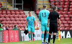 SOUTHAMPTON, ENGLAND - SEPTEMBER 19: Harry Lewis of Southampton coming off after being shown a red card during the Premier League 2 match between Southampton B Team and Burnley at St Mary's Stadium on September 19, 2021 in Southampton, England. (Photo by Isabelle Field/Southampton FC via Getty Images)
