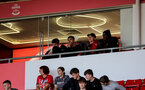 SOUTHAMPTON, ENGLAND - SEPTEMBER 19: Tino Livramento(L), Armando Broja, Will Smallbone and Nathan Tella(R) of Southampton watching  during the Premier League 2 match between Southampton B Team and Burnley at St Mary's Stadium on September 19, 2021 in Southampton, England. (Photo by Isabelle Field/Southampton FC via Getty Images)