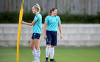 SOUTHAMPTON, ENGLAND - SEPTEMBER 22: Phoebe Williams(L) and Shannon Sievwright(R) during Southampton Women's training at Staplewood Training Ground on September 22, 2021 in Southampton, England. (Photo by Isabelle Field/Southampton FC via Getty Images)