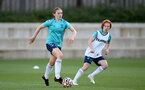 SOUTHAMPTON, ENGLAND - SEPTEMBER 22: Lucia Kendall(L) and Molly Mott(R) during Southampton Women's training at Staplewood Training Ground on September 22, 2021 in Southampton, England. (Photo by Isabelle Field/Southampton FC via Getty Images)