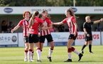 CHELTENHAM, ENGLAND - SEPTEMBER 26: Sophia Pharoah of Southampton celebrates scoring with team mates during the FA National League Southern Premier match between   Southampton Women and London Bees at The Snows Stadium on September 26, 2021 in  Cheltenham, England. (Photo by Isabelle Field/Southampton FC via Getty Images)