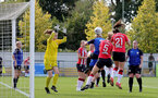 CHELTENHAM, ENGLAND - SEPTEMBER 26: Leeta Rutherford(21) of Southampton headers the ball to score  during the FA National League Southern Premier match between   Southampton Women and London Bees at The Snows Stadium on September 26, 2021 in  Cheltenham, England. (Photo by Isabelle Field/Southampton FC via Getty Images)