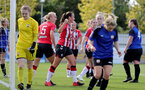 CHELTENHAM, ENGLAND - SEPTEMBER 26: Leeta Rutherford of Southampton goal celebration during the FA National League Southern Premier match between   Southampton Women and London Bees at The Snows Stadium on September 26, 2021 in  Cheltenham, England. (Photo by Isabelle Field/Southampton FC via Getty Images)