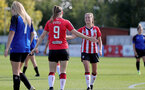CHELTENHAM, ENGLAND - SEPTEMBER 26: Ella Pusey(9) celebrates scoring with team mates during the FA National League Southern Premier match between   Southampton Women and London Bees at The Snows Stadium on September 26, 2021 in  Cheltenham, England. (Photo by Isabelle Field/Southampton FC via Getty Images)