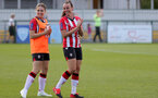 CHELTENHAM, ENGLAND - SEPTEMBER 26: Georgie Freeland(L) and Leeta Rutherford(R) of Southampton during the FA National League Southern Premier match between   Southampton Women and London Bees at The Snows Stadium on September 26, 2021 in  Cheltenham, England. (Photo by Isabelle Field/Southampton FC via Getty Images)