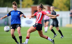 CHELTENHAM, ENGLAND - SEPTEMBER 26: Ciara Watling(R) of Southampton during the FA National League Southern Premier match between   Southampton Women and London Bees at The Snows Stadium on September 26, 2021 in  Cheltenham, England. (Photo by Isabelle Field/Southampton FC via Getty Images)