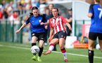 CHELTENHAM, ENGLAND - SEPTEMBER 26: Leeta Rutherford(R) of Southampton during the FA National League Southern Premier match between   Southampton Women and London Bees at The Snows Stadium on September 26, 2021 in  Cheltenham, England. (Photo by Isabelle Field/Southampton FC via Getty Images)