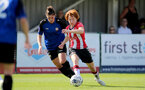 CHELTENHAM, ENGLAND - SEPTEMBER 26: Molly Mott (L) of Southampton during the FA National League Southern Premier match between   Southampton Women and London Bees at The Snows Stadium on September 26, 2021 in  Cheltenham, England. (Photo by Isabelle Field/Southampton FC via Getty Images)