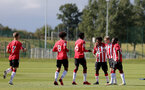 BIRMINGHAM, ENGLAND - SEPTEMBER 27: Dominic Ballard of Southampton celebrates scoring with team mates during the Premier League 2 match between Birmingham City and Southampton B Team at Wast Hills Training Ground on September 27, 2021 in Birmingham , England. (Photo by Isabelle Field/Southampton FC via Getty Images)