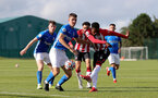 BIRMINGHAM, ENGLAND - SEPTEMBER 27: Remello Mitchell(R) of Southampton during the Premier League 2 match between Birmingham City and Southampton B Team at Wast Hills Training Ground on September 27, 2021 in Birmingham , England. (Photo by Isabelle Field/Southampton FC via Getty Images)