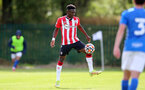 BIRMINGHAM, ENGLAND - SEPTEMBER 27: Kazeem Olaigbe of Southampton during the Premier League 2 match between Birmingham City and Southampton B Team at Wast Hills Training Ground on September 27, 2021 in Birmingham , England. (Photo by Isabelle Field/Southampton FC via Getty Images)