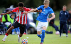 BIRMINGHAM, ENGLAND - SEPTEMBER 27: Caleb Watts(L) of Southampton during the Premier League 2 match between Birmingham City and Southampton B Team at Wast Hills Training Ground on September 27, 2021 in Birmingham , England. (Photo by Isabelle Field/Southampton FC via Getty Images)