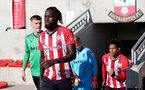 SOUTHAMPTON, ENGLAND - OCTOBER 01: Dynel Simeu(L) of Southampton during the Premier League 2 match between Southampton B Team and Stoke City at Staplewood Training Ground on October 01, 2021 in Southampton, England. (Photo by Isabelle Field/Southampton FC via Getty Images)