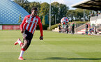 SOUTHAMPTON, ENGLAND - OCTOBER 01: Thierry Small  of Southampton during the Premier League 2 match between Southampton B Team and Stoke City at Staplewood Training Ground on October 01, 2021 in Southampton, England. (Photo by Isabelle Field/Southampton FC via Getty Images)