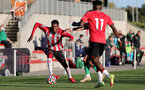 SOUTHAMPTON, ENGLAND - OCTOBER 01: Remello Mitchell(L) of Southampton during the Premier League 2 match between Southampton B Team and Stoke City at Staplewood Training Ground on October 01, 2021 in Southampton, England. (Photo by Isabelle Field/Southampton FC via Getty Images)