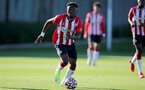 SOUTHAMPTON, ENGLAND - OCTOBER 01: Kazeem Olaigbe of Southampton during the Premier League 2 match between Southampton B Team and Stoke City at Staplewood Training Ground on October 01, 2021 in Southampton, England. (Photo by Isabelle Field/Southampton FC via Getty Images)