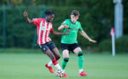 SOUTHAMPTON, ENGLAND - OCTOBER 01: Kegs Chauke(L) of Southampton during the Premier League 2 match between Southampton B Team and Stoke City at Staplewood Training Ground on October 01, 2021 in Southampton, England. (Photo by Isabelle Field/Southampton FC via Getty Images)