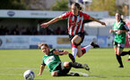 SOUTHAMPTON, ENGLAND - OCTOBER 03: Lucia Kendall(R) of Southampton during the FA National League Southern Premier match between Southampton Women and Keynsham Town at The Snows Stadium on October 03, 2021 in Southampton, England. (Photo by Isabelle Field/Southampton FC via Getty Images)