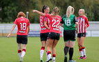 SOUTHAMPTON, ENGLAND - OCTOBER 03: Laura Rafferty of Southampton celebrates scoring with team mates during the FA National League Southern Premier match between Southampton Women and Keynsham Town at The Snows Stadium on October 03, 2021 in Southampton, England. (Photo by Isabelle Field/Southampton FC via Getty Images)