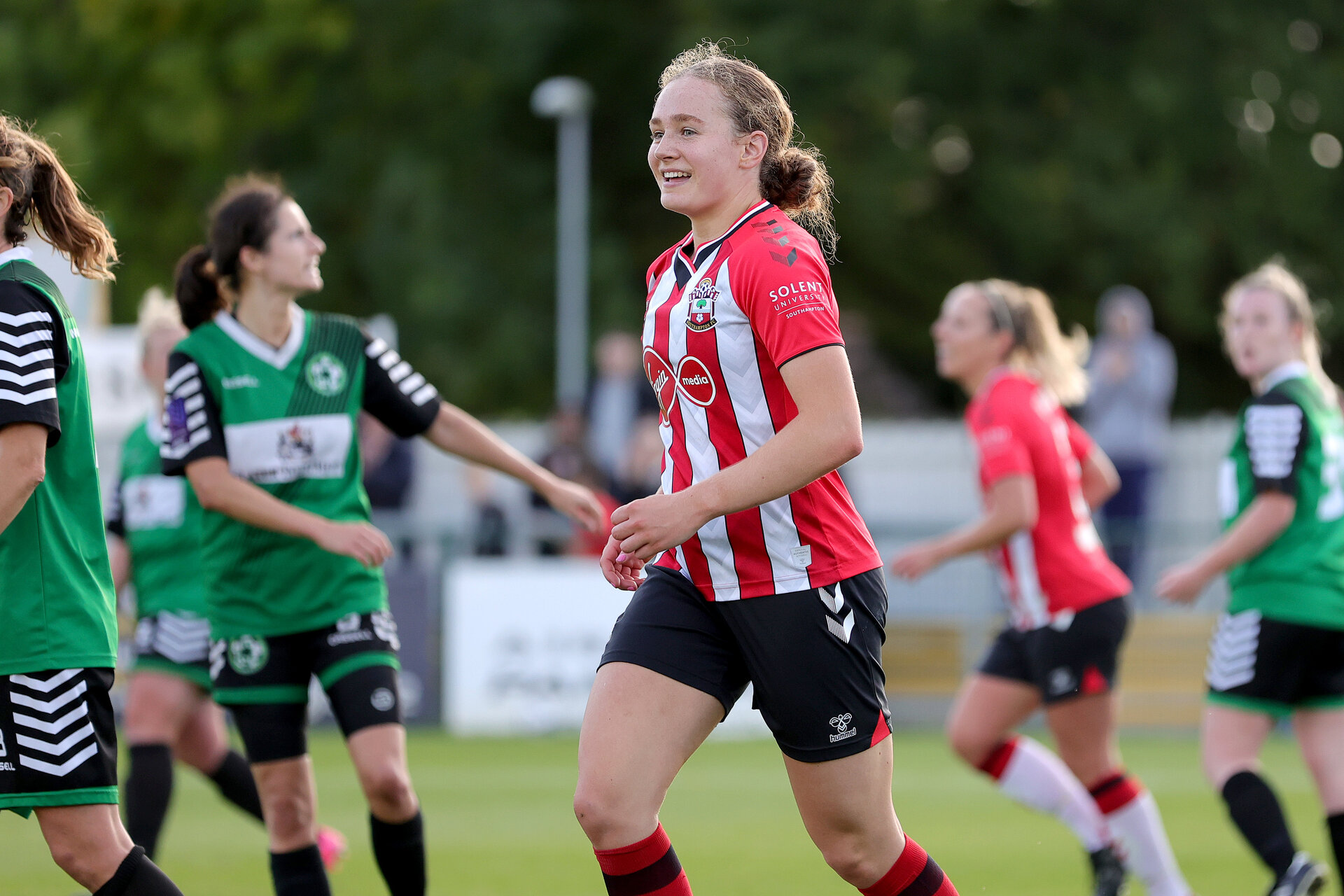 SOUTHAMPTON, ENGLAND - OCTOBER 03: Lucia Kendall of Southampton, Solent University Sponsorship during the FA National League Southern Premier match between Southampton Women and Keynsham Town at The Snows Stadium on October 03, 2021 in Southampton, England. (Photo by Isabelle Field/Southampton FC via Getty Images)
