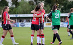 SOUTHAMPTON, ENGLAND - OCTOBER 03: Sophia Pharoah(L) of Southampton congratulates Lucia Kendall(R) of Southampton on scoring during the FA National League Southern Premier match between Southampton Women and Keynsham Town at The Snows Stadium on October 03, 2021 in Southampton, England. (Photo by Isabelle Field/Southampton FC via Getty Images)