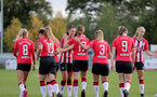 SOUTHAMPTON, ENGLAND - OCTOBER 03: Southampton players celebrate scoring during the FA National League Southern Premier match between Southampton Women and Keynsham Town at The Snows Stadium on October 03, 2021 in Southampton, England. (Photo by Isabelle Field/Southampton FC via Getty Images)