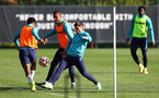 SOUTHAMPTON, ENGLAND - OCTOBER 05: Yan Valery(centre) and Romain Perraud(R) during a Southampton FC training session at the Staplewood Campus on October 05, 2021 in Southampton, England. (Photo by Matt Watson/Southampton FC via Getty Images)