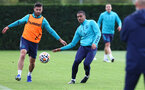 SOUTHAMPTON, ENGLAND - OCTOBER 05: Shane Long(L) and Yan Valery during a Southampton FC training session at the Staplewood Campus on October 05, 2021 in Southampton, England. (Photo by Matt Watson/Southampton FC via Getty Images)