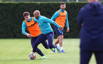 SOUTHAMPTON, ENGLAND - OCTOBER 05: Lyanco(L) and Nathan Redmond during a Southampton FC training session at the Staplewood Campus on October 05, 2021 in Southampton, England. (Photo by Matt Watson/Southampton FC via Getty Images)