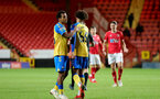 LONDON, ENGLAND - OCTOBER 06: Caleb Watts(L) of Southampton and Kamari Doyle(R) of Southampton during the Papa John's Trophy match between Charlton Athletic and Southampton B Team at The Valley on October 06, 2021 in London, England. (Photo by Isabelle Field/Southampton FC via Getty Images)