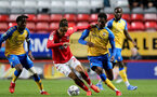 LONDON, ENGLAND - OCTOBER 06: Kegs Chauke(L) of Southampton and Remello Mitchell(R) of Southampton during the Papa John's Trophy match between Charlton Athletic and Southampton B Team at The Valley on October 06, 2021 in London, England. (Photo by Isabelle Field/Southampton FC via Getty Images)