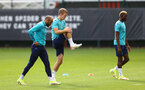 SOUTHAMPTON, ENGLAND - OCTOBER 14: L to R Nathan Redmond, James Ward-Prowse and Moussa Djenepo during a Southampton FC training session at the Staplewood Campus on October 14, 2021 in Southampton, England. (Photo by Matt Watson/Southampton FC via Getty Images)